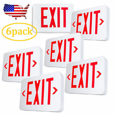 6pack Red LED Emergency Exit Light Sign - Modern Battery Backup UL924 Fire