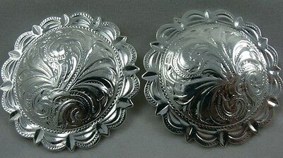Sterling  Silver Easy-on silver saddle/ blanket  conchos   Pair Time to SHOW-OFF
