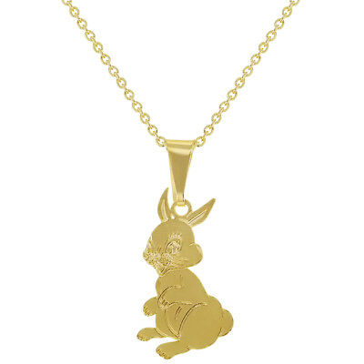 18k Gold Plated Bunny Rabbit Kids Children Pendant Necklace 16""