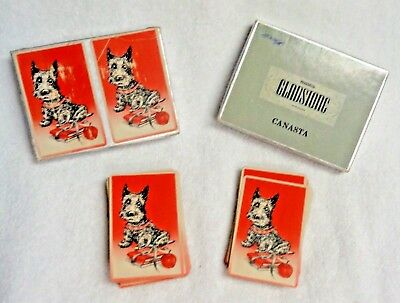 Scotty Scottie Dog Black With Red Background Books And Apple  Canasta Cards