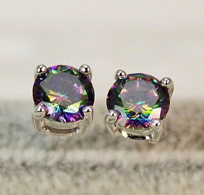 18K White Gold Filled - 9MM Round MYSTICAL Rainbow Topaz Luxury Gems Earrings
