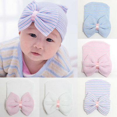 New Baby Girls Infant Striped Cap Hospital Newborn Soft Bow Beanie Hat Gifts