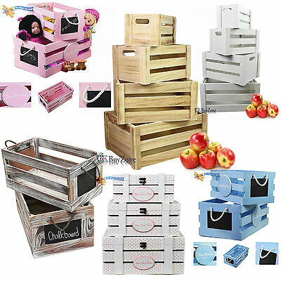 Wooden Vintage Retro Storage Boxes Apple Slatted Crates Chest Boxes Distressed
