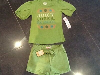 NWT Juicy Couture New & Gen. Girls Age 8 Green Cotton Shorts & T-Shirt & Logo