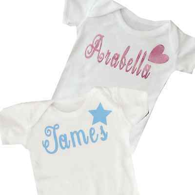 Baby Vest Personalised Bodysuit Grow 100% Soft Cotton New Baby Gift, Christening