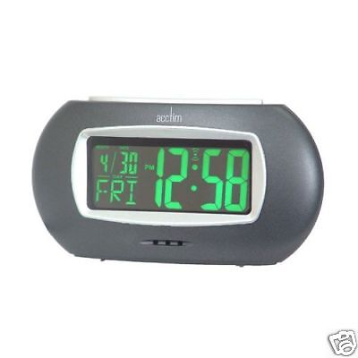 Acctim Neonite Green Day Date Digital Mains Electric Snooze Alarm Clock 13165