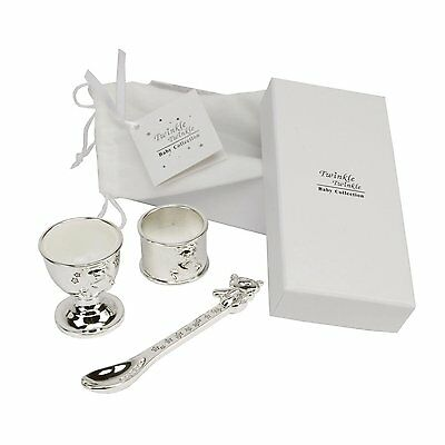 Twinkle Twinkle Silverplated Egg Cup, Spoon and Napkin Ring Baby Gift Set