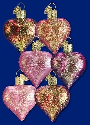 Box Of 12 Assorted Shimmering Heart Old World Christmas Glass Ornaments 30003