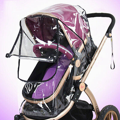 New Baby Stroller Rain Cover Kids Infant Pushchair Windproof Shield With Window