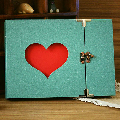 Hollowed Heart Photo Photography Album Scrapbook Green Cover DIY Memory