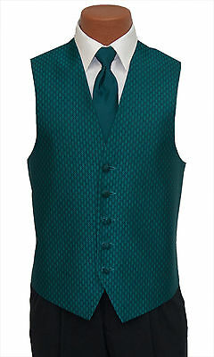 Medium Mens Teal Rapture Fullback Wedding Prom Party Formal Tuxedo Vest and Tie