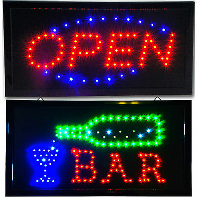 """Bright Animated BAR & Open LED Store Pub Restaurant Business Sign neon 19x10"""""""