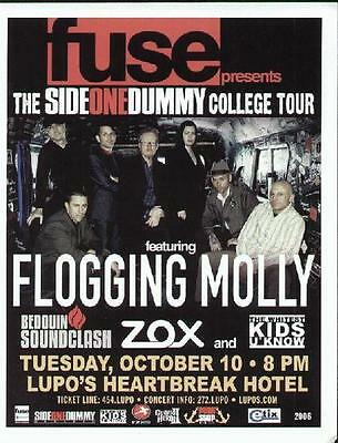 Flogging Molly Concert Flyer Providence Lupos