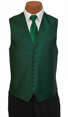 Medium Mens Emerald Green Rapture Fullback Wedding Prom Formal Tuxedo Vest & Tie
