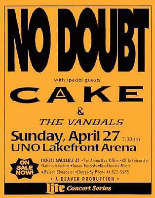 No Doubt Cake New Orleans Uno Concert Poster 1995