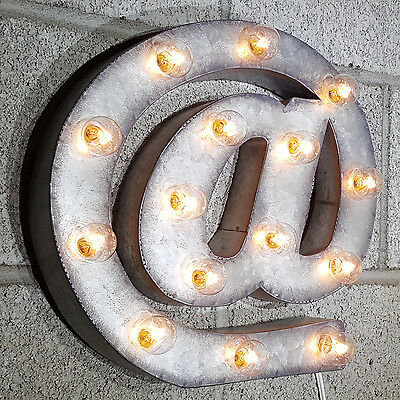 """12"""" At @ Symbol Rustic Metal Vintage Style Marquee Sign Light - 21 COLOR CHOICES"""