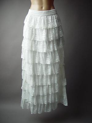 White Lace Tiered Ruffle Victorian 1800s Plus Long Maxi 195 mv Skirt 1XL 2XL 3XL