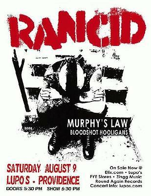 Rancid Lupos Providence 2008 Concert Flyer Mint