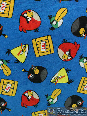 Polar Fleece Fabric Print ANGRY BIRDS TNT ALL OVER LICENSED SOLD BTY N-1984-OT