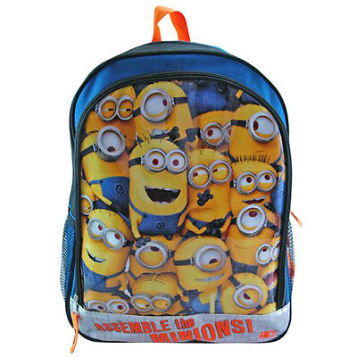"""Despicable Me 2 Assemble The Minions Boys Kids Large 16"""" Backpack School Bag NEW"""