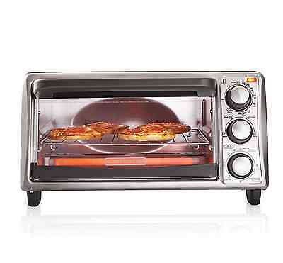 Black & Decker 4 Slice Electric Stainless Steel Toaster Oven Toast Broil Bake