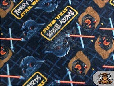 "Polar Fleece Fabric Print LARGE ANGRY BIRDS STARWARS BATTLE 60"" W Sold BTY S-541"