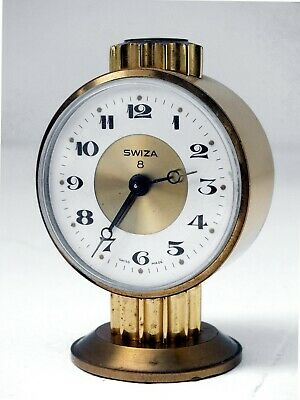 Swiza 8 days vintage alarm clock Swiss design table watch  perfect condition A