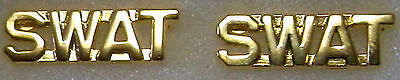 "SWAT Gold 1/4"" Lettering/Letters Pair Collar Pins Rank Insignia (police/fire)"