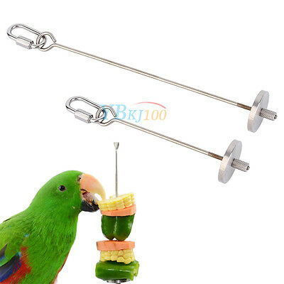 Bird Meat Fruit Food Vegetable Skewer Holder For Cage Treat Toy Canary Budgie