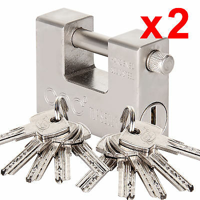 2X 94Mm 10Keys Heavy Duty Anti Rust Shutter Padlock Security Garage Shackle Lock