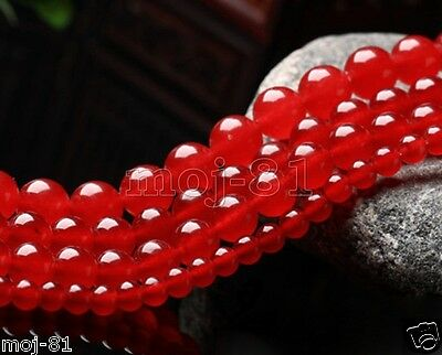 AAA+ Natural 4/6/8/10/12/14MM Red Jade Round Gemstone Loose Beads 15'' Strand