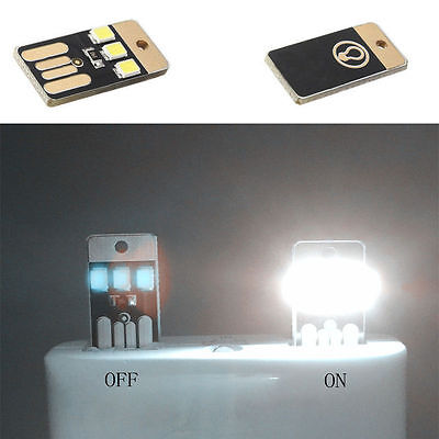 2Pcs Mini USB LED Light Pocket Card Lamp Mobile Power Camping Laptop New