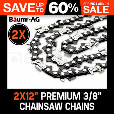 """2 x 12"""" BAUMR-AG CHAINSAW CHAIN 12in Bar Spare Part Replacement Suits Pole Saws"""