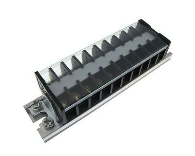10 Position Screw Barrier Strip Terminal Block w/ Cover & Mounting Rail 15A