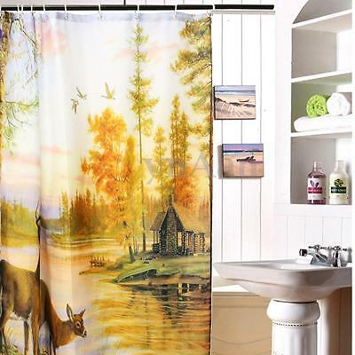 Ciervos Cortina De Ducha Baño Impermeable Decoración Con Ganchos Shower Curtain