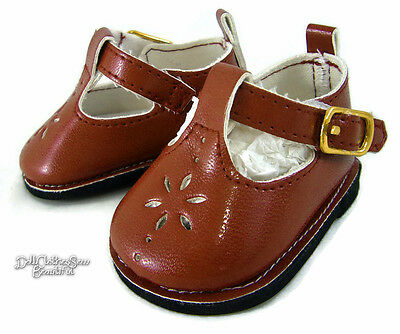"Rusty Brown T-Strap Shoes Made for 18"" American Girl Doll Clothes"