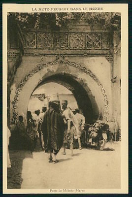 Motorcycle Peugeot in Meknes door Morocco original old 1930s postcard France