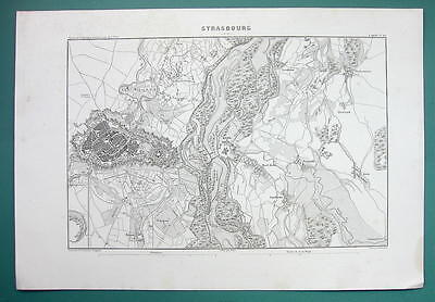 1846 MAP - FRANCE Strasbourg & Environs incl. Fortifications