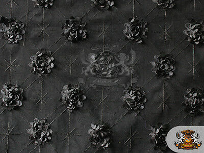 "Guipure 3D Rosette Fabric BLACK / 58"" Wide / Sold the yard"