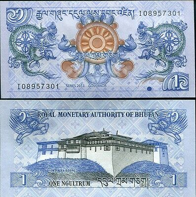 Bhutan 1 Ngultrum 2013 P 27 Unc Lot 100 Pcs 1 Bundle