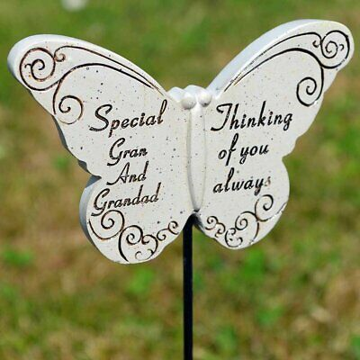 Thinking of Special Gran & Grandad Butterfly Memorial Tribute Stick Graveside Pl