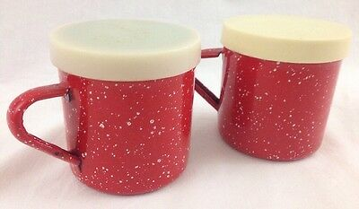 Salt & Pepper Shakers Speckled Red & White Granite Enamel Ware