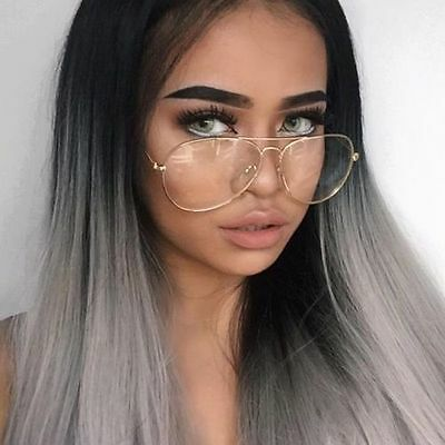 Size Matters! Oversized Big Aviator Clear Lens Metal Frame Eyeglasses Glasses