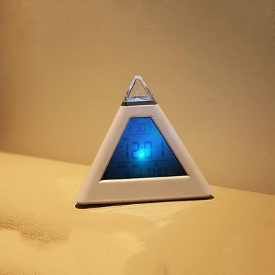 Cute 7 LED Changing Color Pyramid Shape Digital Alarm Clock Thermometer
