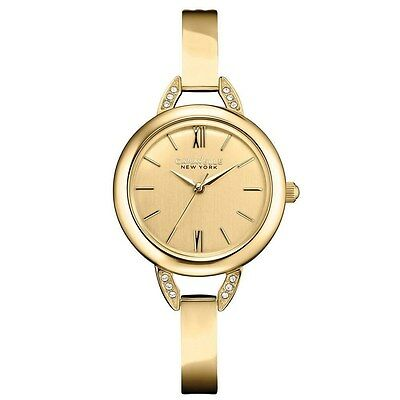 Caravelle New York By Bulova Women'S Crystal Gold-Tone Bangle Watch 44L129