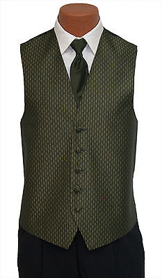 XL-Long Mens Olive Green Rapture Fullback Wedding Prom Formal Tuxedo Vest & Tie
