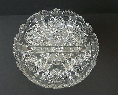 "GORGEOUS AMERICAN BRILLIANT PERIOD (ABP) CUT GLASS 8"" BOWL / DISH, c. 1880-1900"