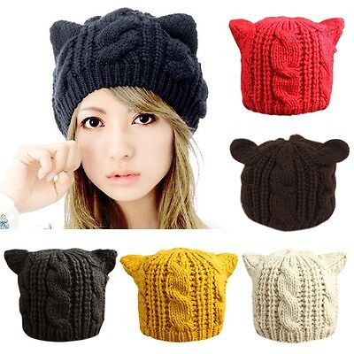 Ladies Winter Beanie Devil Horns Cat Ear Crochet Braided Knit Wool Cap Hat