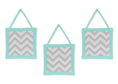 Wall Art Decor Hanging for Sweet Jojo Designs Zig Zag Turquoise Gray Bedding Set