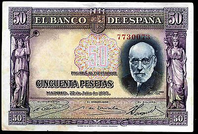 Spain. Fifty Pesetas. 22-7-1935. 7730073. Good Very Fine.
